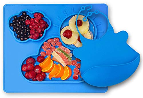 Toddler Plate by Kenley - Silicone Suction Baby Feeding Placemat with Divided Food Plate - Non-Slip Kids Weaning Tray Mat with Feeding Bowl - Free Matching Bib