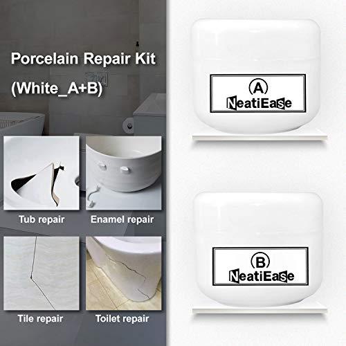 Porcelain Ceramic Repair Kit, Fiberglass Repair Kit for Tub, Tile and Shower, AB Epoxy Resin (White)