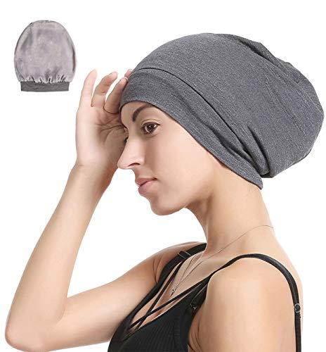 Slap Night Cap Sleep Hat Beanie - Dark Grey Women Organic Bamboo Satin Silk Lined Bonnet Summer Scarf Hair Cover for Lady Lightweight Light Thin Jersey Chemo, Christmas Santa Day Gifts for Women