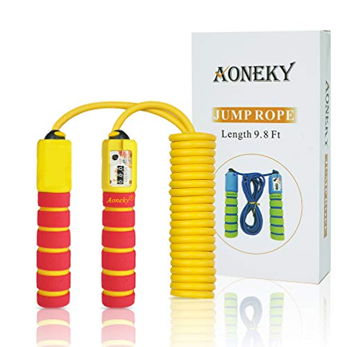 Aoneky Adjustable Kids Jump Rope with Counter and Comfortable Handles - Women Light Skipping Rope for Exercise, Best Gift for Children, Skipping Toy for Boys Girls Aged 6+ Years Old (Red)