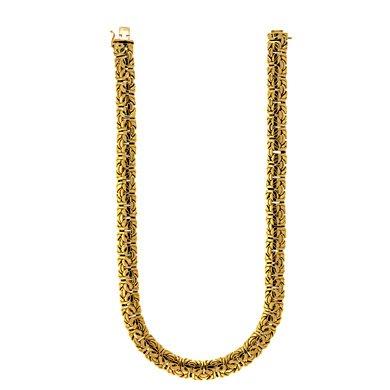 Or jaune 18carats 11,5mm Bracelet Byzantin-20cm