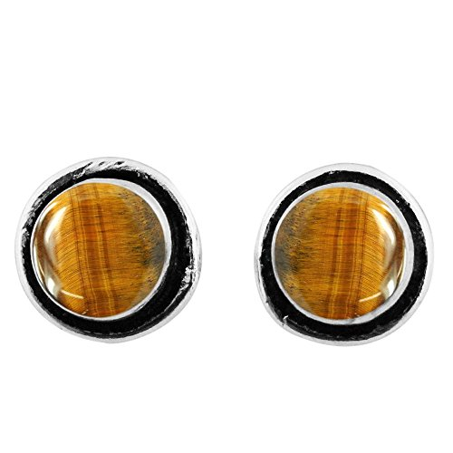 8x8mm Round Genuine Tiger Eye & 925 Silver Plated Stud Earrings ()