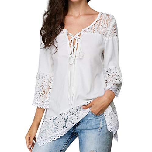- Todaies Womens Lace Blouse Women Loose Blouse Three Quarter V-Neck T Shirts Tops 2018