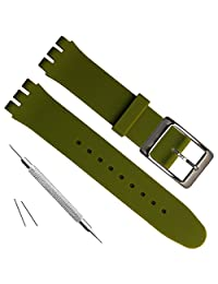 Replacement Waterproof Silicone Rubber Watch Strap Watch Band (20mm, Blackish Green)