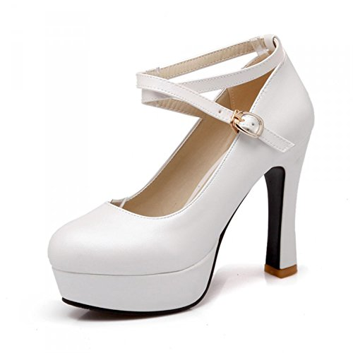 df51b2bb4a3 good Summerwhisper Women s Sexy Extreme High Platform Round Toe Pumps Cross Ankle  Strap Chunky Heel Shoes