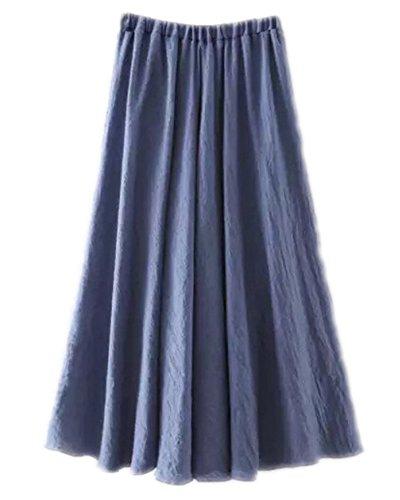 Mujeres Estilo Bohemia Cintura Elástico Algodón Larga Lino Faldas Vaquero Azul