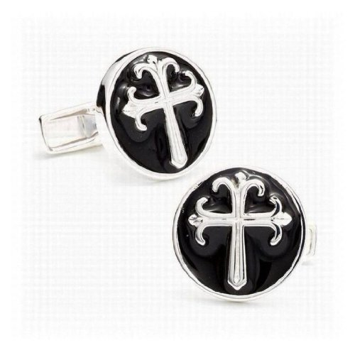 Round Enamel Cross Cufflinks - One Size