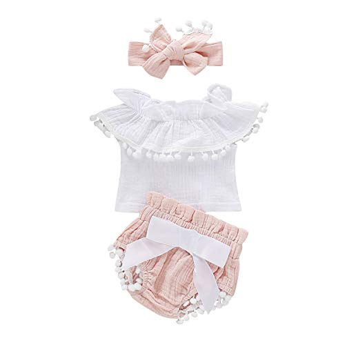 (Infant Toddler Baby Girl Ruffle Off Shoulder Cotton Linen Top Shirts Tassel Ball Shorts Bloomers Headband (Pink, 6-12 Months))