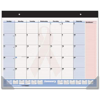 - AT-A-GLANCE Products - AT-A-GLANCE - QuickNotes Pink Ribbon Monthly Desk Pad/Wall Calendar, 22 x 17 - Sold As 1 Each - Highlighted and ruled QuickNotes panel for priority planning. - Shaded weekends contrast with the workweek. - Federal holidays noted in red or blue alert to official institutional closings.