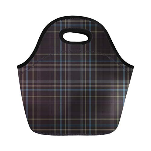 Semtomn Lunch Bags Checkered Red Abstract Tartan Stock Checked Chequered Dinner Gingham Neoprene Lunch Bag Lunchbox Tote Bag Portable Picnic Bag Cooler Bag