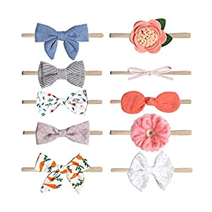 Baby Girl Headband Set- Baby Headbands 10 Packs Nylon Bows Style Hair Band Accessories for Infant Toddler and Baby Girl…