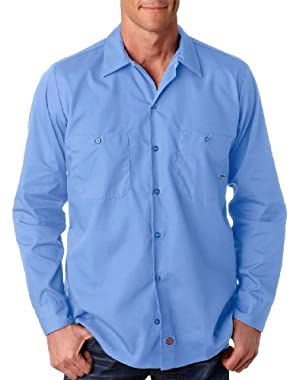 Men's Mitered Pockets Industrial Poplin Work Shirt, LIGHT BLUE DOW