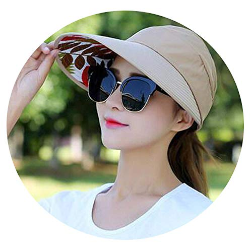 Summer Sun Hats Pearl Packable Sun Visor Hat with Big Heads Wide Brim Beach Hat Uv Protection Female Cap,10 ()