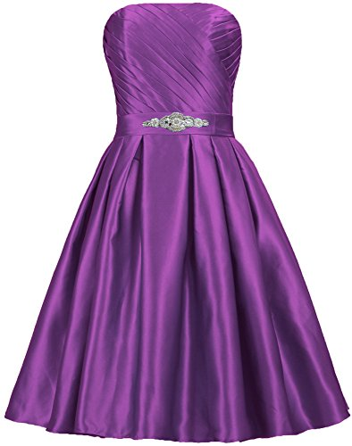ANTS Detached Satin Strapless Bead Short Purple Sash Cocktail Dresses Evening rdwr4EYq