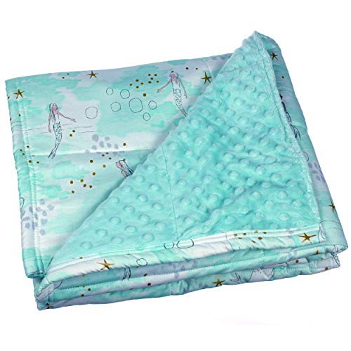 Calming Covers Weighted Blanket for Kids or Adults (10 lbs, 59 x 41, Aqua Mermaid Cotton & Minky)
