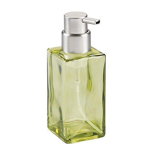 InterDesign Casilla Glass Foaming Soap Dispenser Pump for Kitchen, Bathroom Countertop and Vanities - Green/Brushed