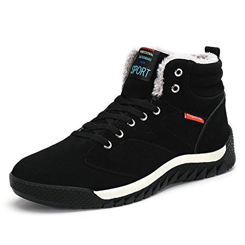 Uomo Piatto Scarpe Caloroso da Stivali Caviglia Neve Boots Sportive Allineato Invernali Pelliccia Stivaletti SAGUARO Nero gwdqd