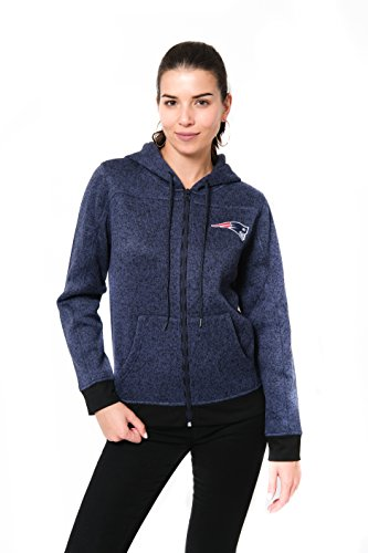 Icer Brands NFL New England Patriots Women's Full Zip Hoodie Sweatshirt Marl Knit Jacket, Large, Navy
