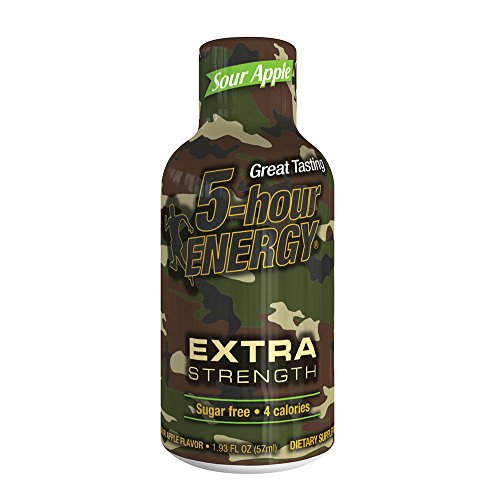 5 Hour Energy Shot Extra Strength Sour Apple 24 Pack of 2 Ounce Bottles, Brown