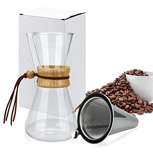Pour Over Coffee Maker, OAMCEG 20 oz Borosilicate Glass Carafe and Reusable Stainless Steel Permanent Filter Manual Coffee Dripper Brewer with Real Wood Sleeve