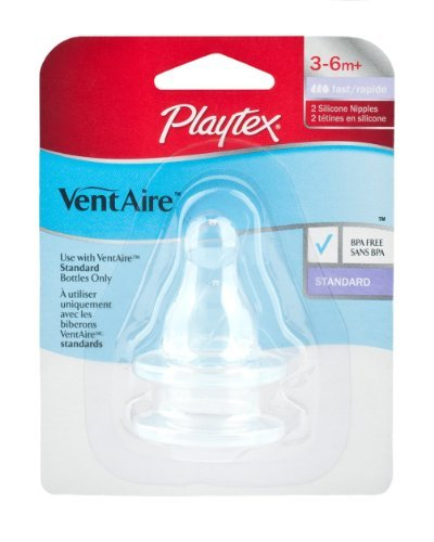 Playtex VentAire Bubble Free Silicone Feeding Nipples, Stage 2 Fast Flow - 4 Nipples
