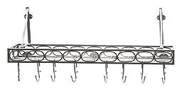 Medium Gauge Wall-Mount Bookshelf Pot Rack with 8 Hooks