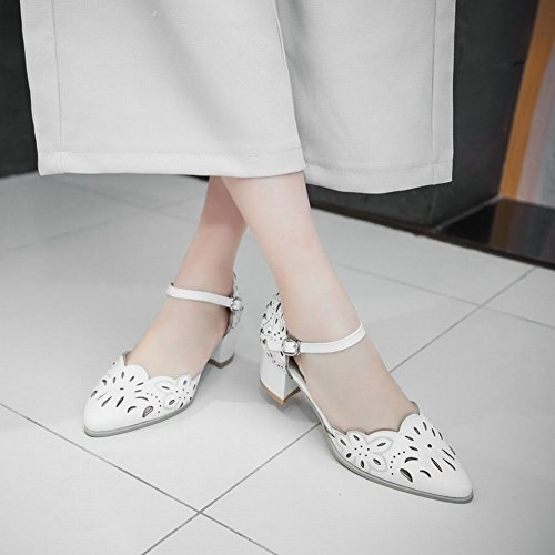 Carolbar Womens Buckle Sweet Fashion Elegance Dress Pointed Toe Chunky Mid Heel Mary Janes Sandals Shoes White XwCig58