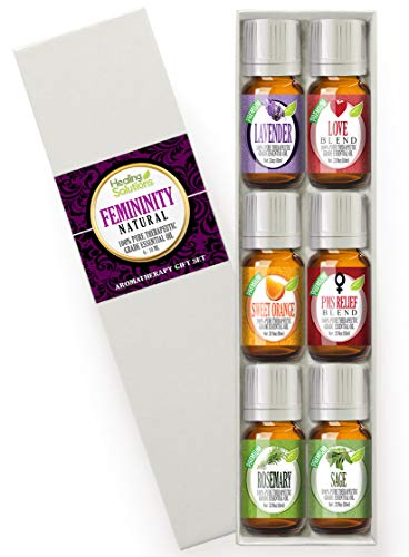 Natural Femininity Set 100% Pure, Best Therapeutic Grade Essential Oil Kit - 6/10mL (Lavender, Love Blend, Sweet Orange, PMS Relief Blend, Rosemary, and Sage) (Best Essential Oils For Pms)