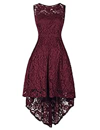 H HIAMIGOS Women's Vintage Floral Lace Cocktail Formal Party High Low Dress