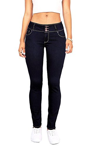 Wax Women's Juniors Body Flattering Mid Rise Skinny Jeans Dark Denim 9
