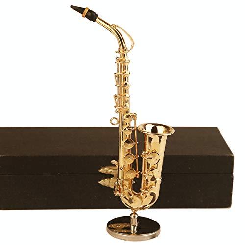 Seawoo Copper Miniature Saxophone with Stand and Case Mini Musical Instrument Miniature Dollhouse Model Mini Alto Saxophone Tenor Saxophone Home Decoration (Alto Saxophone, -