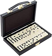 Classic Dominos Game - 28 Pieces Double Six Dominoes Set in Durable Travel Wooden Case - Great Indoor Activity