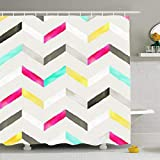 Bright Pink Shower Curtain InnoDIY Shower Curtains Bathroom 72 x 72 Inches Watercolor Bright Chevron Pattern Pink Blue Yellow White Black Grey Gouache Blots Beige Waterproof Home Decor Bath Set Hooks