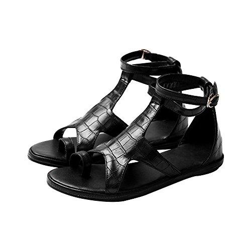 Mujeres estrellas Gladiador romano sandalias Flats Negro