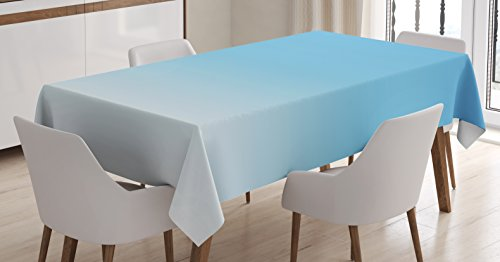 Ombre Tablecloth by Ambesonne, Skyscapee in the Spring View Tropical Blue Inspired Vivid Colored Modern Design Print, Dining Room Kitchen Rectangular Table Cover, 60 W X 90 L Inches, Blue White