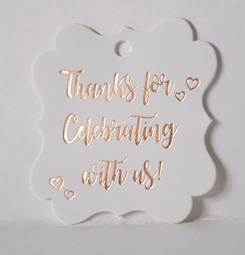 Fancy Frame Gift Tags, Rose Gold Foil, 30 Pack,Thank You Tags, Gift Tags, Print Party Hearts Collection (Rose Gold Tags Frame 2) ()