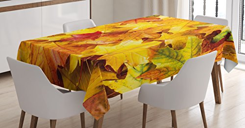 Ambesonne Fall Decor Tablecloth, Wet Fall Leaves Rainy Weather Maple Tree Nature in November Change of Seasons, Dining Room Kitchen Rectangular Table Cover, 52 W X 70 L Inches, Pale Orange