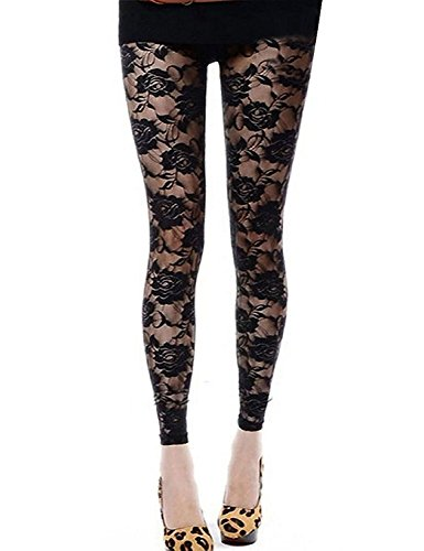 DITTMURI Women Sexy Mesh Sheer Floral Lace Hollow Out Footless Leggings Pants Tights Black ()