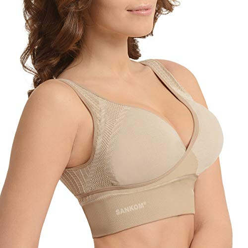 SANKOM Beige Wireless Back Support Posture Corrector Bra with Cooling Fibers and Outerpackages (S/M)
