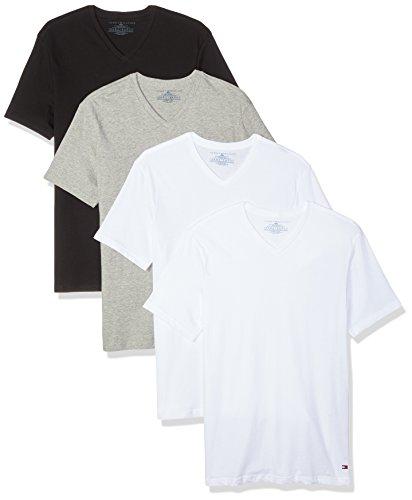 Tommy Hilfiger Men's Undershirts 4 Pack Cotton Classics V-Neck T-Shirts, White/White/Grey Heather/Black, Medium