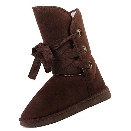 SODIAL(R) Winter Wolle Schnuerschuh Schnee Frauen Stiefel Schuhe Damen schwarz-US 5 = China 36 = Fuss Laenge 23cm Braun
