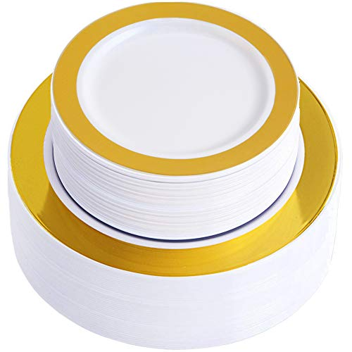 WDF 102 pieces Gold Plastic Plates -Disposable Plastic Plates with Gold Rim -Wedding Party Plates include 51-10.25