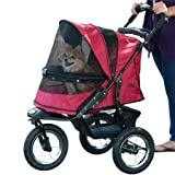 Pet Gear No-Zip Jogger Pet Stroller for Cats Dogs - Zipperless Entry - Easy One-Hand Fold - Air Tires - Cup Holder + Storage Basket - Rugged Red