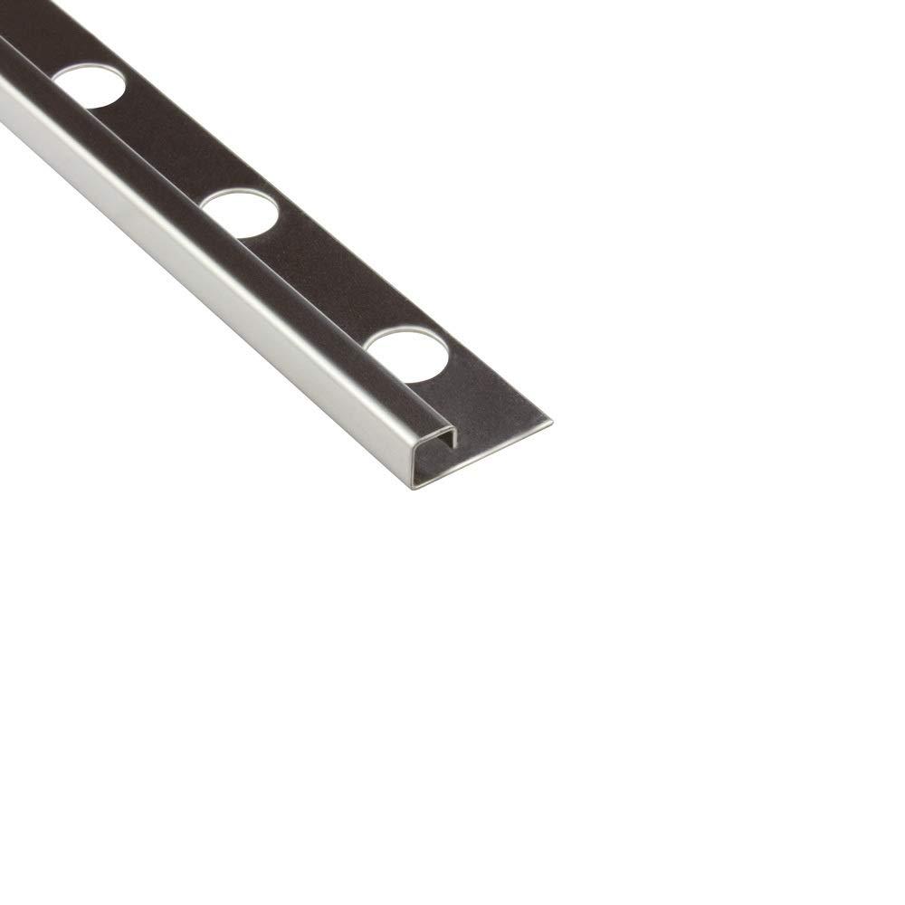10x Quadro-Profil Edelstahlschiene Fliesenprofil Fliesenschiene Edelstahl V2A L250cm 8mm gl/änzend