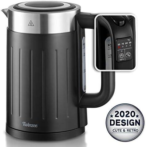 Bouilloire Thermostat Réglable 50-100°C - Bouilloire Electriques avec Filtre Twinzee 1,7L Sans Fil - Sans BPA - Arrêt Automatique - Bouilloire Inox et Noire