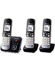 Panasonic KX-TG6824GA DECT draadloze telefoon met antwoordapparaat, 3 telefoons + antwoordapparaat, Trio mit Anrufbeantworter, zwart