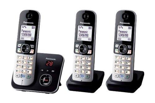 Panasonic KX-TG6823GB DECT-Schnurlostelefon (4,6 cm (1,8 Zoll) Grafik-Display) mit Anrufbeantworter schwarz