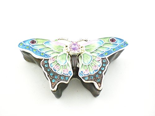 Ciel Collectables 1013638A Butterfly Jeweled Blue Enamel Trinket Box 4.25