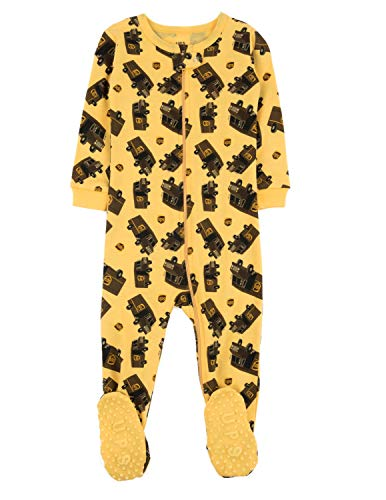 Yellow Footed Sleeper Pajamas - Leveret UPS Truck Baby Girls Boys Footed Pajamas Sleeper 100% Cotton Yellow 4 Years