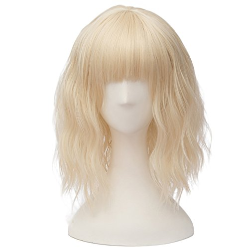 Short Blonde Wig With Bangs (Fashion Light Blonde Short 14 Inches Wavy Lolita Women's with Bangs Cosplay Wig Heat Resistant)